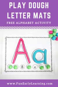 Play Dough Letter Mats Literacy Activity. Fun no prep activity for learning letter identification, letter formation and matching! Perfect for preschool, kindergarten, RTI and early childhood. #alphabetactivity #literacycenter #playdoughactivity #funearlylearning