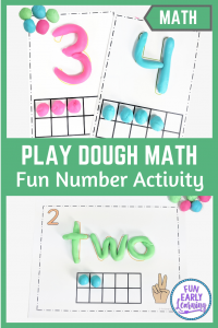 Play Dough Number Mats Learning Activity! Fun hands-on math activity for preschool and kindergarten! Color or black and white printable worksheets included.