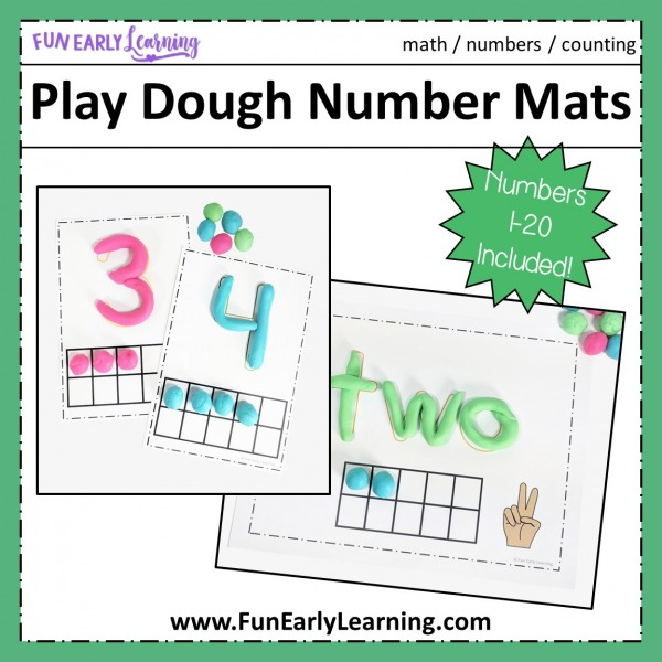 Play Dough Number Mats Kid's Math Activity. Hands-on printable for learning number recognition, number identification, counting, and quantifying! Perfect math for preschool, kindergarten, RTI and early childhood.