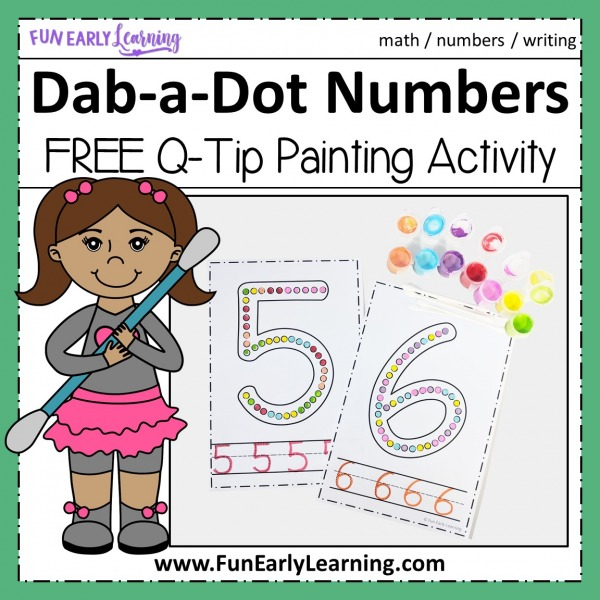 Fun math activities and free printable for preschool, pre k and kindergarten! Dab-a-Dot Numbers activity for learning number identification and writing at home and in the classroom.