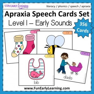 Apraxia Speech Cards Set Level 1 Early Sounds. Fun hands-on speech activity for learning articulation, speech, language and phonics. Perfect for preschool, kindergarten and early childhood. #speechtherapy #articulation #apraxia