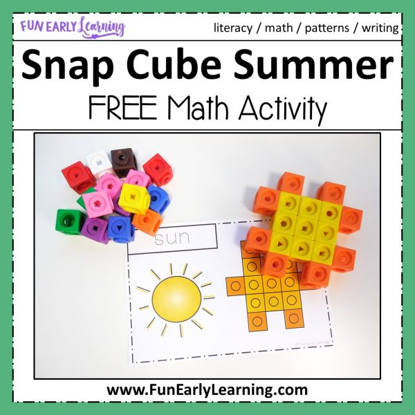 Snap Cube Summer Shapes Math Activity. Fun hands-on activity for shapes and shape writing. Perfect for preschool, kindergarten, RTI and early childhood. #mathcenter #shapeactivity #summeractivity #snapcubes #funearlyearning