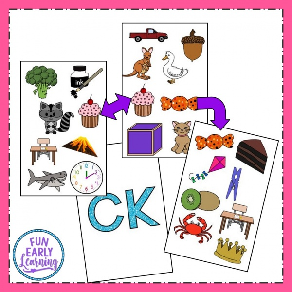 Free Matching Mission CK Sounds game for speech therapy and articulation. Great for preschool, prek, and kindergarten. #phonicactivities #speechtherapy #freeprintable #funearlylearning