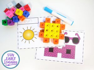Snap Cube Summer Shapes Math Activity. Fun hands-on activity for shapes and shape writing. Perfect for preschool, kindergarten, early childhood, and rti! #math #mathcenter #shapes #shapewriting #summeractivity #snapcubes #matching #finemotorskills #preschoolmath #kindergartenmath #earlychildhood #freeprintable #freeactivity #freemathactivity