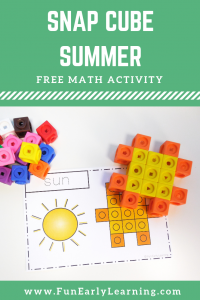 Snap Cube Summer Shapes Math Activity. Fun preschool and kindergarten shapes activity and printables. Fun math center or literacy activity activity. #mathcenter #freeprintable #funearlylearning