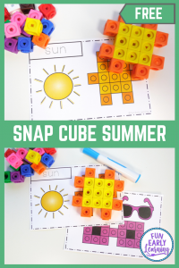 Snap Cube Summer Preschool Math Activities! Fun free printable for learning shapes and patterns! #freeprintable #mathcenter #funearlylearning