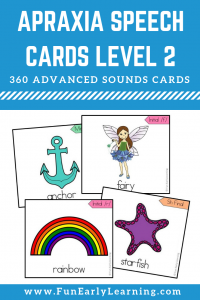 Apraxia Speech Cards Set Level 2 Advanced Sounds. Focuses on articulation of advanced sounds. Great speech therapy cards for preschool, kindergarten, and early childhood. #articulation #speechtherapy #apraxia #funearlylearning