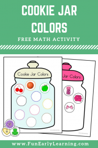 Cookie Jar Colors Math Activity Free Printable. Fun color activity for sorting colors into the different cookie jars. Perfect for toddlers, preschool, kindergarten, and early childhood! #coloractivity #mathcenter #freeprintable