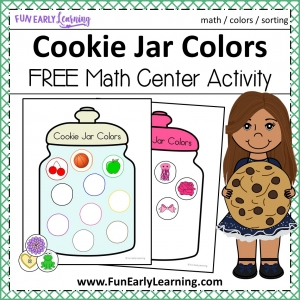 Cookie Jar Colors Math Activity or Math Center. Fun color activity for preschool, kindergarten, and early childhood!