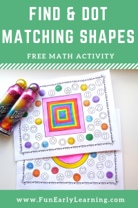 Find and Dot Matching Shapes Free Printable Math Activity! Great for learning shape identification and matching in preschool, kindergarten, RTI, and early childhood! #shapeactivity #mathcenter #freeprintable