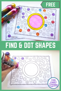 Find and Dot Matching Shapes Free Printable Math Activity! Fun activity for learning shape identification and matching in preschool and kindergarten! #shapeactivity #mathcenter #freeprintable #funearlylearning