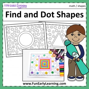 Find and Dot Matching Shapes Free Printable Math Activity! Great for learning shape identification and matching in preschool, kindergarten, RTI, and early childhood!
