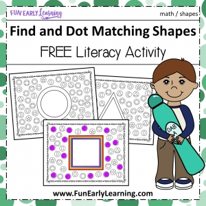 Find and Dot Matching Shapes Early Math activity. Fun shapes no prep activity for preschool, kindergarten, and early childhood!