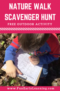 Nature Walk Scavenger Hunt Free Printable! Fun activity for kids, preschool, and kindergarten this spring, summer and fall! #naturewalk #freeprintable #funearlylearning