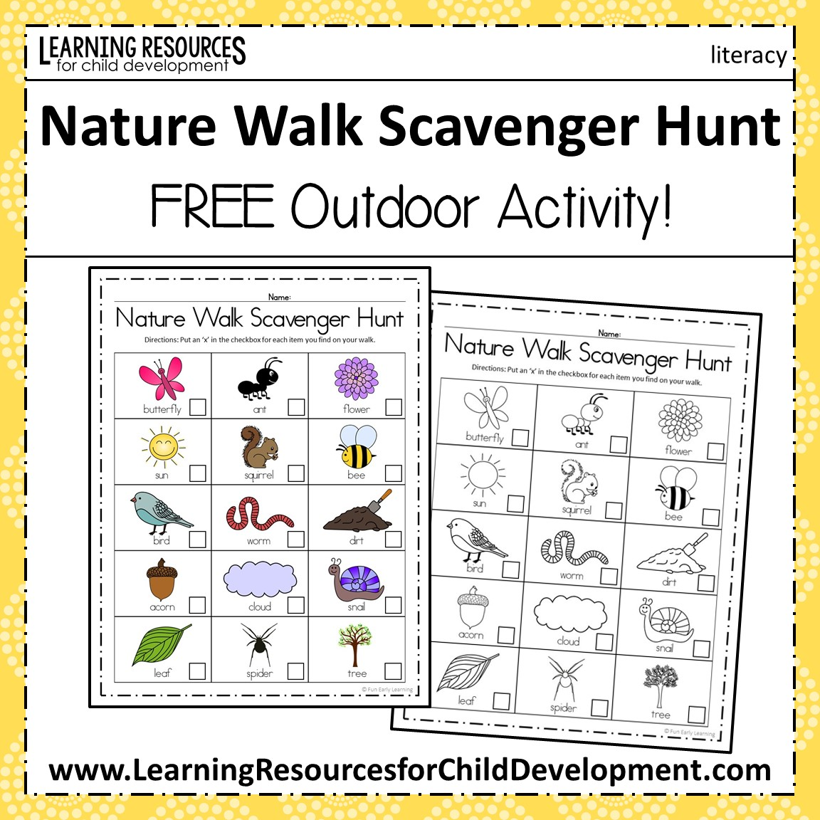 nature walk scavenger hunt activity spring and summer activity