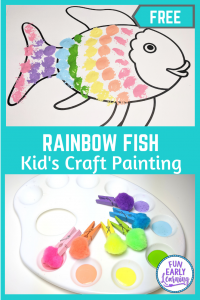 Rainbow Fish Craft for Preschool and Kindergarten! Fun template for kids to make an easy kids craft! #freeprintable #kidscraft #funearlylearning