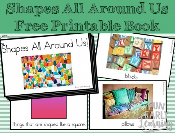 Shapes All Around Us Book. Fun book for learning about shapes in the environment. Perfect for toddlers, preschool, kindergarten, and early childhood! #shapes #shapebook #mathcenter #freeprintable