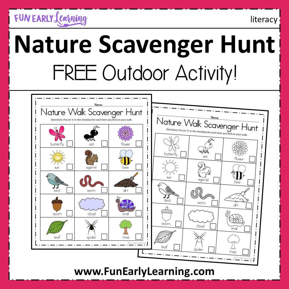 photograph about Printable Nature Scavenger Hunt titled Character Wander Scavenger Hunt Match - Spring and Summer months Video game