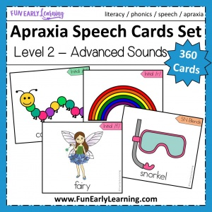 Apraxia Speech Cards Level 2 Advanced Sounds. 360 speech cards for learning articulation in speech therapy and language development. Great therapy ideas for adults, childhood, preschool and more! #apraxia #speech #funearlylearning