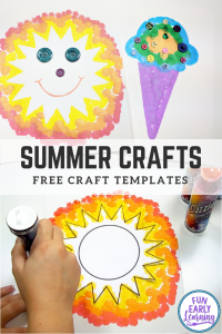 Fun and Easy Summer Crafts for Kids! Quick ideas for indoor or outdoor use. Perfect for preschool, kindergarten and toddlers, boys and girls! Free templates included. #kidscrafts #funearlylearning