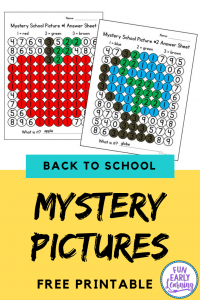 Back to school Mystery Pictures! Fun free printables for preschoolers and kindergarten! Great for teachers in the classroom or at home on the first day of school and beyond. #backtoschool #freeprintable #funearlylearning