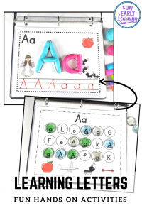 Fun Alphabet Activities for Preschool and Kindergarten! Great hands-on printables for teaching letters, phonics and writing! #alphabetactivity #literacycenter #funearlylearning