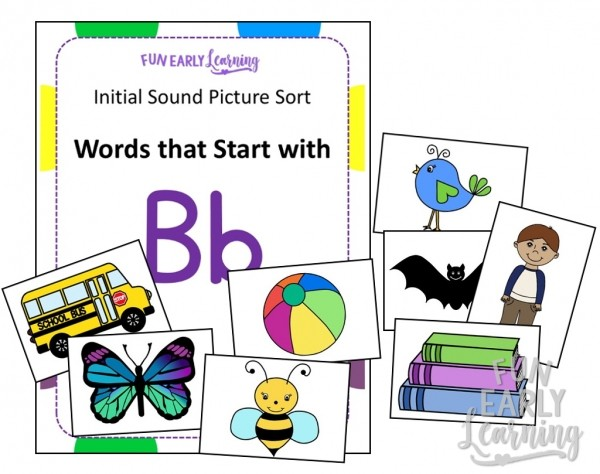 Initial Sound Picture Sort Fun Phonics Activity! Learn initial sounds, phonics, and letter-sound correspondence with our fun hands-on activity! Great for preschool, kindergarten, RTI, and early childhood. #phonics #phonicsactivity #initialsounds #beginningsounds #lettersoundcorrespondence #literacy #literacycenter #preschool #kindergarten #earlychildhood