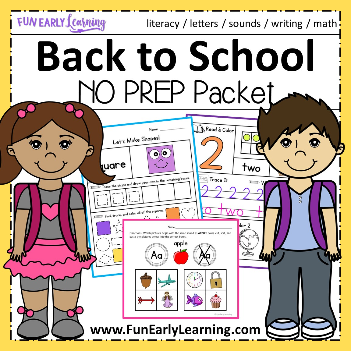 Back To School Math And Literacy Activities For Preschool And