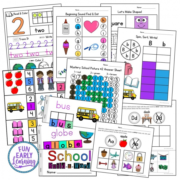 Fun Back to School Activities for Preschoolers and Kindergarten! Great first day activities for learning fine motor, literacy and math in the classroom or at home! #backtoschool #literacycenter #mathcenter #funearlylearning