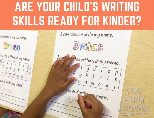 2 ways to know if your child's writing skills are ready for kindergarten. Is your child ready? #writing #writingskills #writingcenter #preschoolwriting #prekwriting #kindergartenreadiness #kindergartenprep #earlychildhood