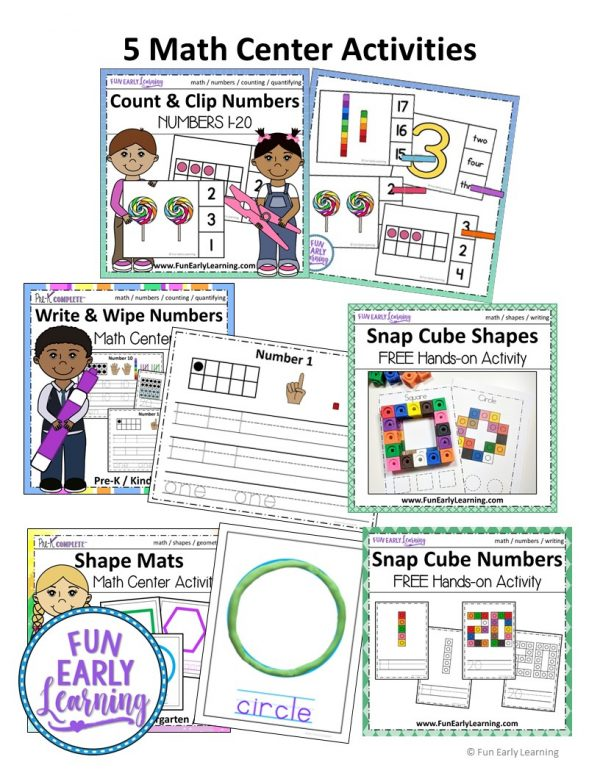 Complete Math Program / Math Curriculum for Preschool. Includes guided lessons, math centers, no prep worksheets, and more! #guidedlessons #lessonplans #mathprogram #mathcurriculum #preschoolmath #kindergartenmath