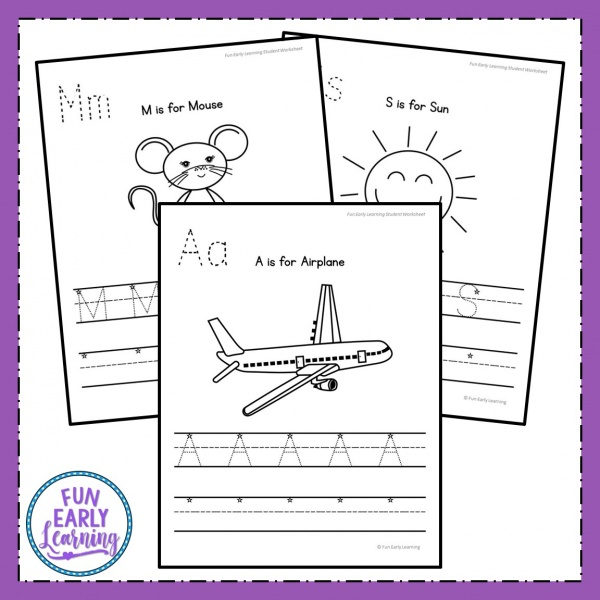 Uppercase Letter Worksheets with Guided Lessons for preschool, kindergarten, and early education. Great guided lessons / lesson plans for teaching letter identification, phonics, and letter writing. #guidedlessons #literacycenter #writingcenter #alphabetactivity #phonics