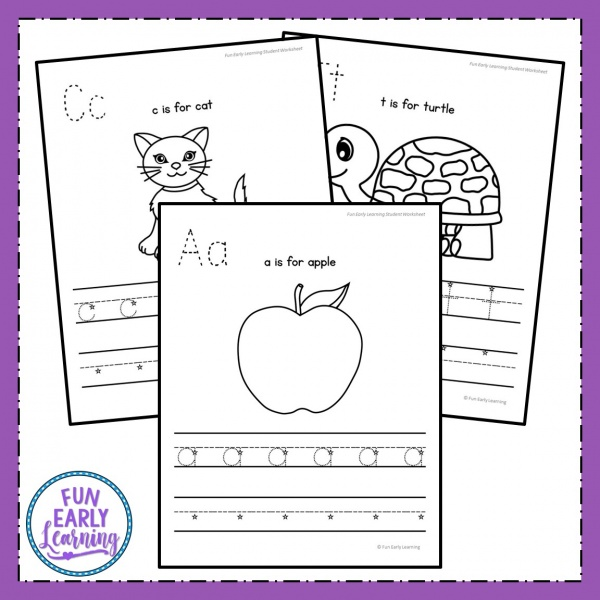 Lowercase Letter Worksheets with Guided Lessons for preschool, kindergarten, and early education. Great guided lessons / lesson plans for teaching letter identification, phonics, and letter writing. #guidedlessons #literacycenter #phonics #alphabet