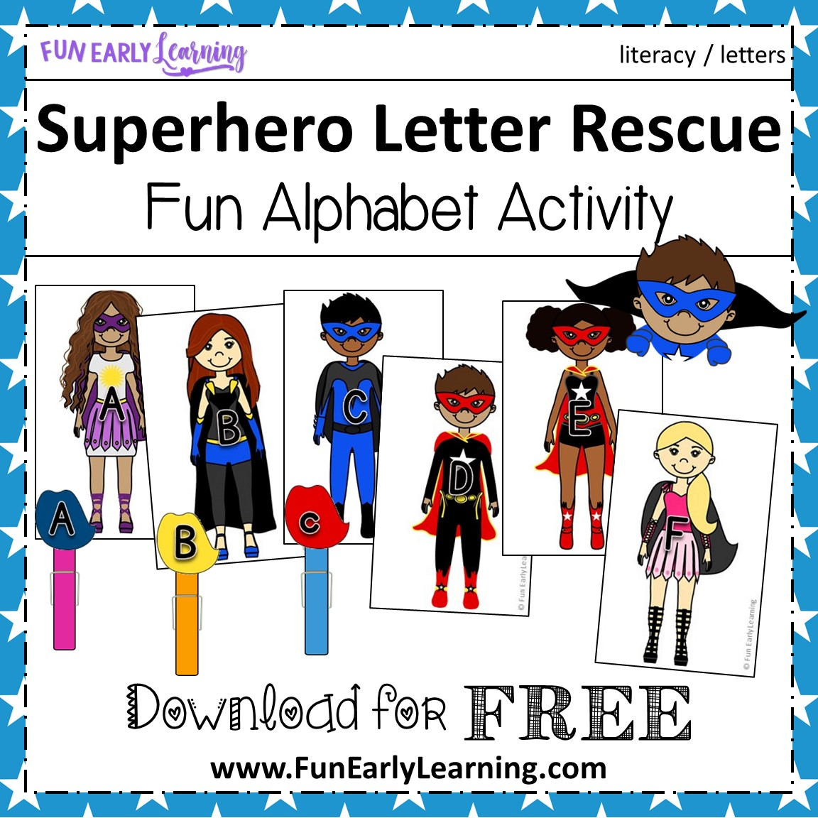 graphic about Superhero Letters Printable called Superhero Letter Rescue Alphabet Match - Pleasurable Free of charge Printable