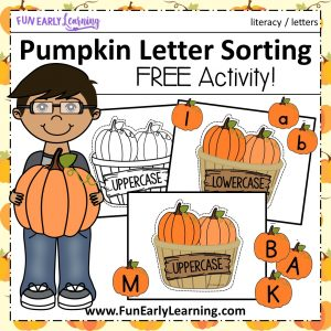 Pumpkin Letter Sorting Free Alphabet Activity! Fun activity for learning uppercase and lowercase letter recognition, sorting, and matching. Great printable for preschool, kindergarten, RTI, and early childhood. #fall #fallactivity #Halloween #Halloweenactivity #letters #letteractivity #alphabetactivity #literacy #literacycenter #preschool #kindergarten #earlychildhood