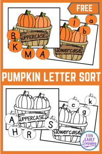 Fun Fall Alphabet Activities for preschool and kindergarten! Children will learn letter identification and sorting with this free printable. #fallactivity #halloween #funearlylearning