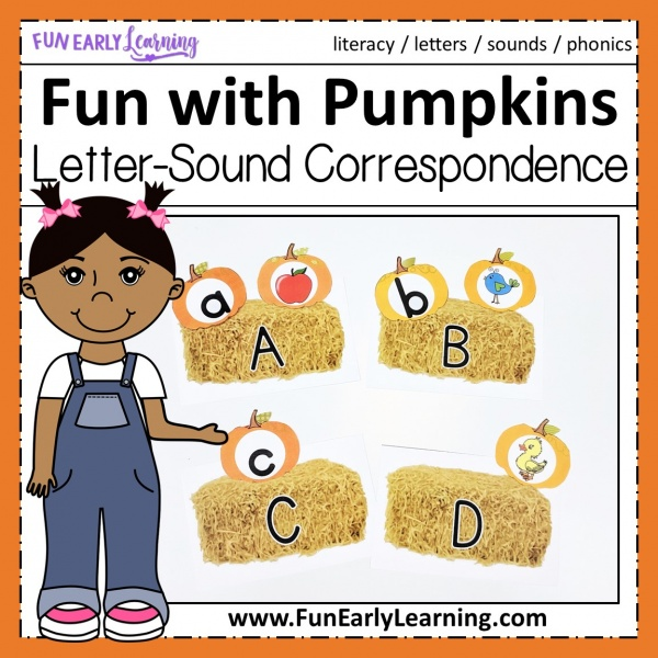 Fun fall alphabet and phonics activities for preschool and kindergarten! Fun with Pumpkins is a great way to learn letter correspondence. #fallactivities #funearlylearning