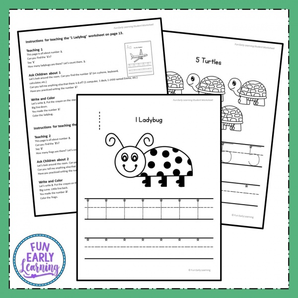 Numbers 1-20 Worksheets with Guided Lessons for preschool, kindergarten, and early education. Great for learning number recognition and identification, number formation and writing. #guidedlessons #mathcenter #counting #preschoolmath #kindergartenmath