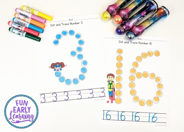 Dot and Trace Numbers with Superheroes Activity for Preschool and Kindergarten! Fun printables for kids! #mathcenter #numbersactivity #funearlylearning