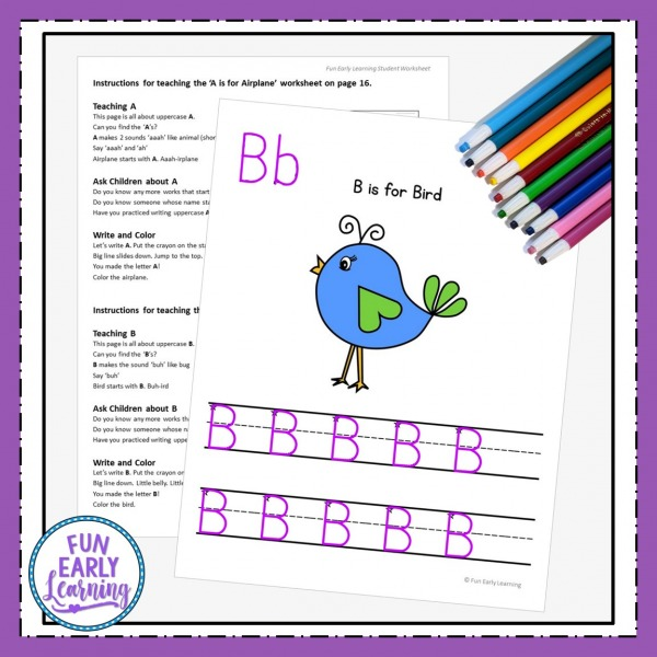 Uppercase Letters Worksheets with Guided Lessons Fun no prep printable for kindergarten and preschool. Great for teaching handwriting, letters, and beginning sounds.
