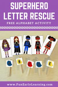 Superhero Letter Rescue Free Printable! Fun alphabet activity for preschool and kindergarten. #alphabetactivity #freeprintable #funearlylearning