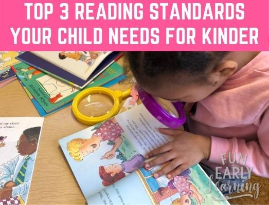 Top 3 Reading Standards Your Child Needs to Know Before Kindergarten. Is your child ready? #reading #literacy #readingstandards #kindergarten #kindergartenreadiness #kindergartenprep #prek #preschool #earlychildhood
