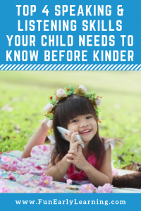 Top 4 Speaking & Listening Standards Your Child Needs Before Kindergarten. These skills help them to be successful in school and beyond! Is your child ready? #kindergartenreadiness #kindergartenprep #listeningskills