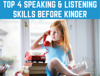 Top 4 Speaking & Listening Standards Your Child Needs Before Kindergarten. Is your child ready? Here's how to assess them and promote their skills. #kindergartenprep #kindergartenreadiness #preschoolassessment #freeassessment