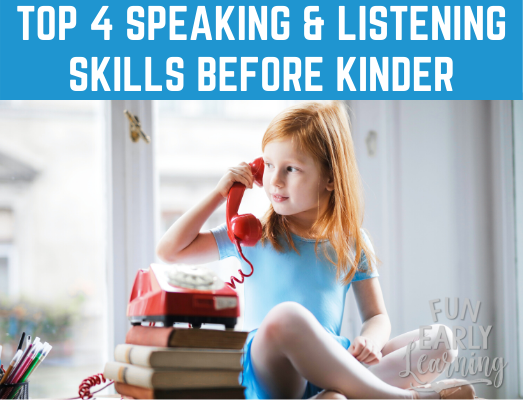 Top 4 Speaking & Listening Standards Your Child Needs Before Kindergarten. These skills help them to be successful in school and beyond! Is your child ready? #kindergartenreadiness #kindergartenprep #prekinder #prek #speakingskills #listeningskills #speakingstandards #listeningstandards #ealrychildhood