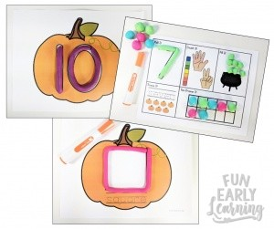 Play Dough Fun with Pumpkins Math & Literacy Activities! 7 different activities for learning letter identification, letter formation, number identification, counting, quantifying, and more! Fun hands-on activities that are perfect for toddlers, preschool, kindergarten, RTI, and early childhood! #fall #fallactivities #preschoolfallactivities #kinidergartenfallactivities #Halloweenactivities #Thanksgivingactivities #literacycenter #Mathcenter #alphabet #numbers #counting #preschool #kindergarten #earlychildhood #RTI #funearlylearning