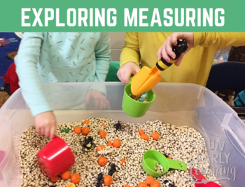 Explore measurement with this fun math sensory bin for preschool and kindergarten! Fun hands on activity for at home or in school.