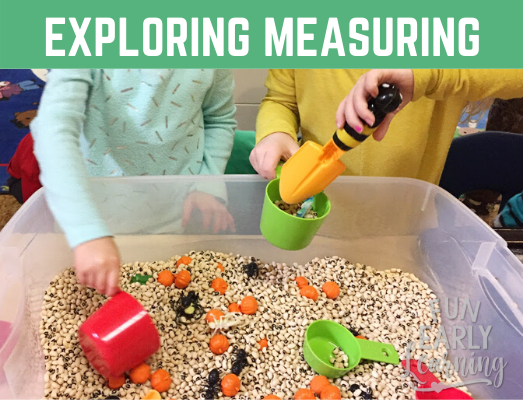 Exploring Measuring Tools with a Fun Black-Eye Pea Sensory Bin! Fun hands-on activity for learning measuring in preschool, kindergarten, and early childhood. #sensorybin #preschoolmath #kindergartenmath