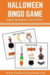 Halloween Bingo free printable! Great for kids in preschool and kindergarten! Use at home or in the classroom. #halloweenactivity #freeprintable #funearlylearning