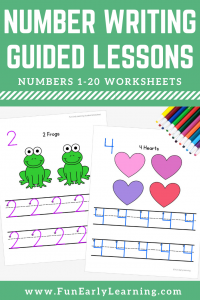Numbers 1-20 Worksheets with Guided Lessons for preschool, kindergarten, and early education. Great for learning number recognition and identification, number formation and writing.
